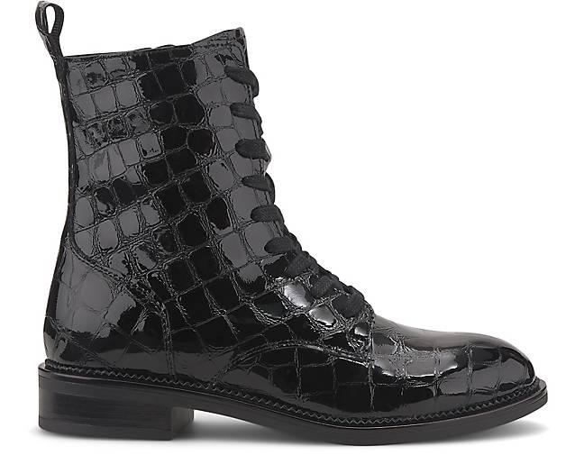 tamaris stiefeletten schwarz mit kroko