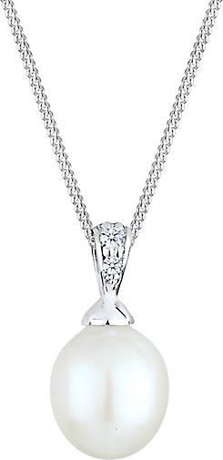 DIAMORE Halskette Süßwasserzuchtperle Diamant (0.04 ct.) 925 Silber