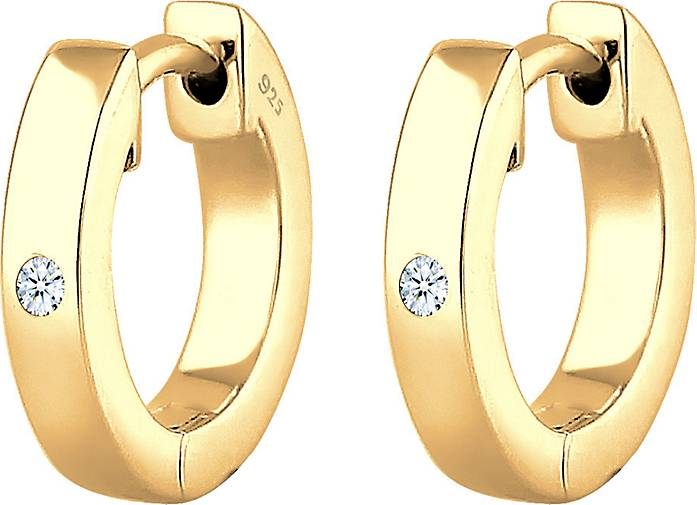 DIAMORE Ohrringe Creole Diamant (0.03 ct) Geschenkidee Silber