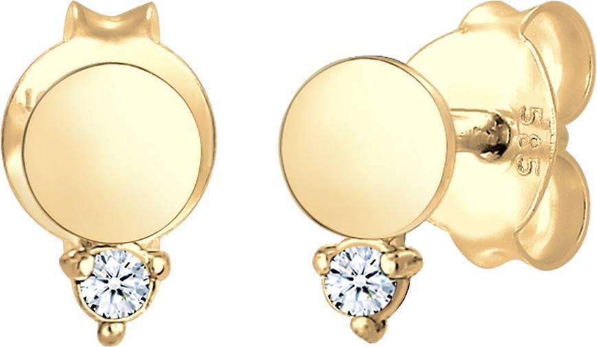DIAMORE Ohrringe Ohrstecker Kreis Diamant (0.03 ct.) 585er Gelbgold