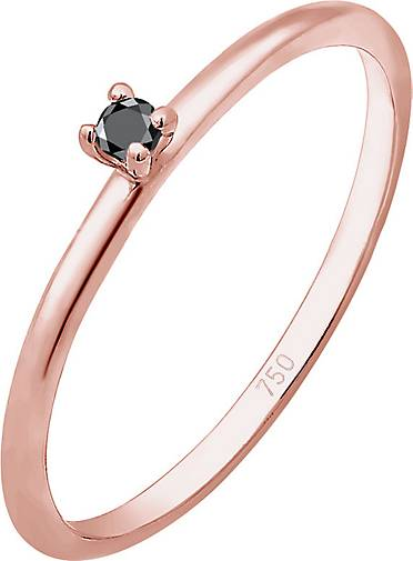 DIAMORE Ring Solitär Schwarzer Diamant (0.015 ct) 750 Roségold