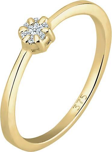 DIAMORE Ring Verlobung Blume Diamant (0.045 ct.) 375 Gelbgold