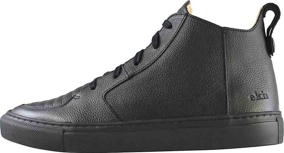 EKN Footwear Sneaker Argan Mid Black Leather Black Sole