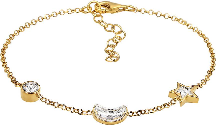 Elli Armband Astro Stern Mond Kristalle 925 Silber