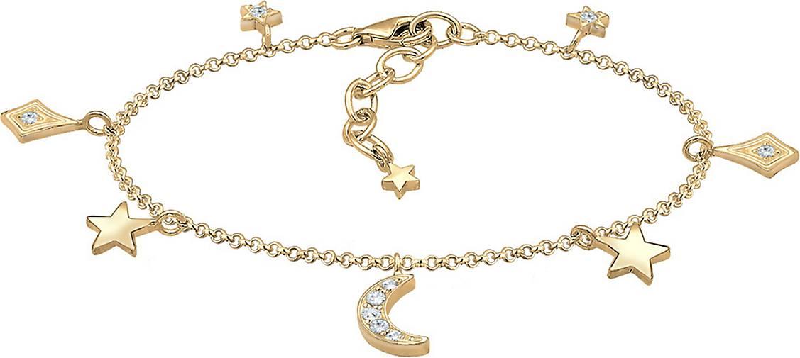 Elli Armband Astro Sterne Halbmond  Kristalle 925 Silber