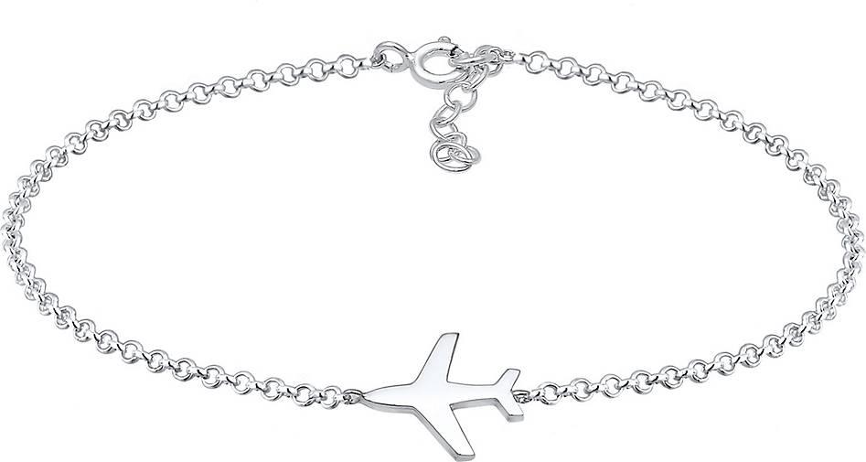 Elli Armband Basic Erbskette Flugzeug Travel Reise 925 Silber