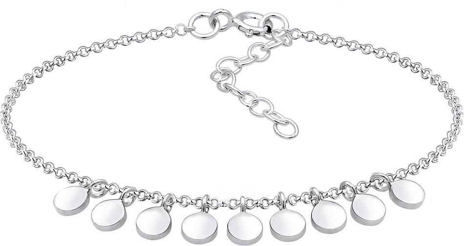 Elli Armband Geo Kreis Plättchen Anhänger 925er Sterling Silber