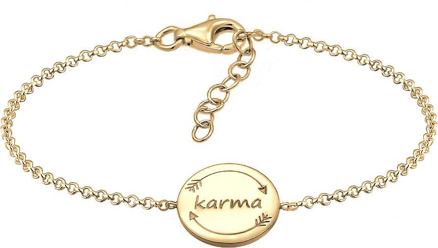 Elli Armband Karma Wording Plättchen Boho Festival 925 Silber