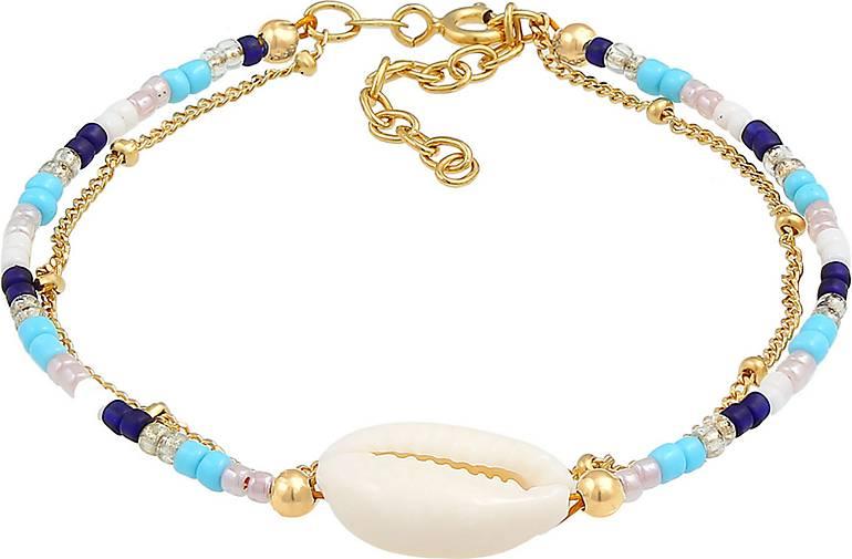 Elli Armband Kauri Muschel Kugelkette Beads Bunt 925 Silber