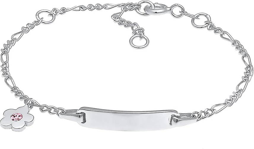 Elli Armband Kinder ID-Armband Schild Blume Geburt 925 Silber