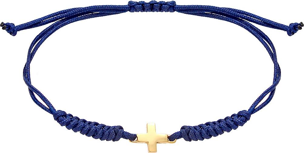Elli Armband Kinder Kreuz Nylon-Bändchen Kommunion 925 Silber
