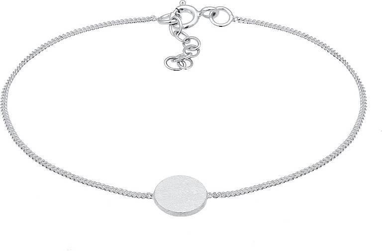 Elli Armband Kreis Plättchen Matt Basic Trend Geo 925 Silber