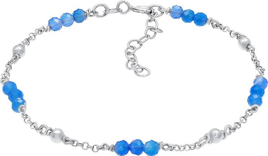 Elli Armband Kugel Achat Bead Blau Sommer 925er Silber