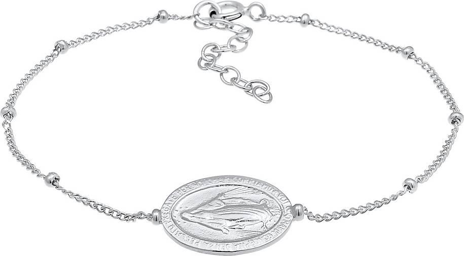 Elli Armband Marienbild Münze Vintage Kugelkette 925 Silber