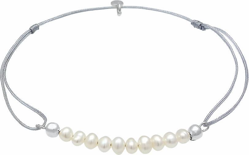 Elli Armband Süßwasser-Zuchtperle Basic Nylon 925 Silber