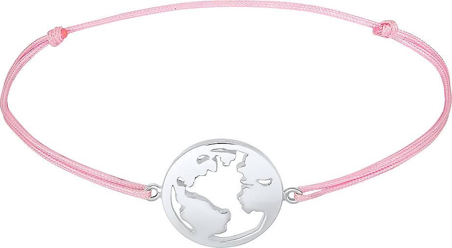 Elli Armband Weltkugel Globus Reise Nylon Bändchen 925 Silber