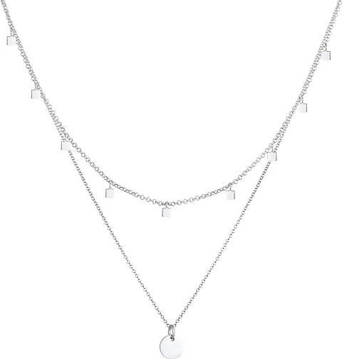 Elli Halskette 2er Set Choker Layer Plättchen Geo 925 Silber