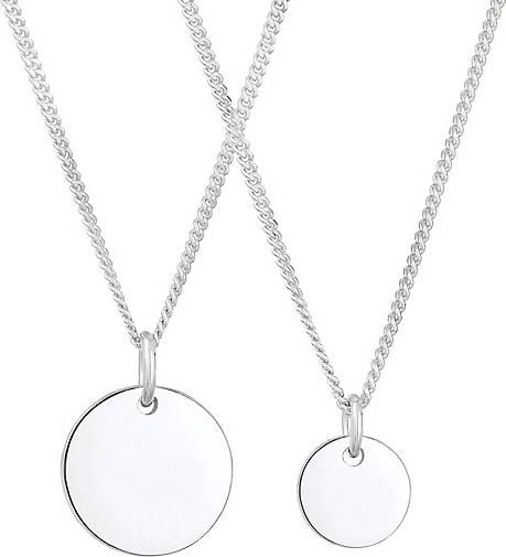 Elli Halskette 2er Set Plättchen Coin Mutter Tochter 925 Silber