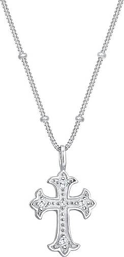 Elli Halskette Antik Kreuz Kugelkette Zirkonia 80's 925er Silber