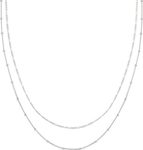 Elli Halskette Basic 2er Set Kugelkette Figarokette 925 Silber