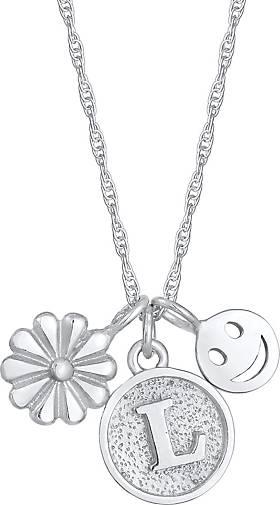 Elli Halskette Blume Flower Smiley Disc Buchstabe L 925 Silber