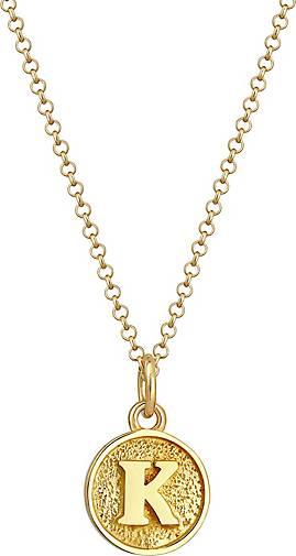 Elli Halskette Buchstabe K Initialen Vintage Plättchen 925 Silber