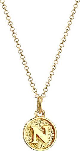 Elli Halskette Buchstabe N Initialen Vintage Plättchen 925 Silber