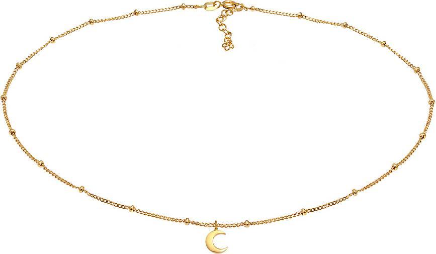 Elli Halskette Choker Kugelkette Halbmond Astro 925 Silber