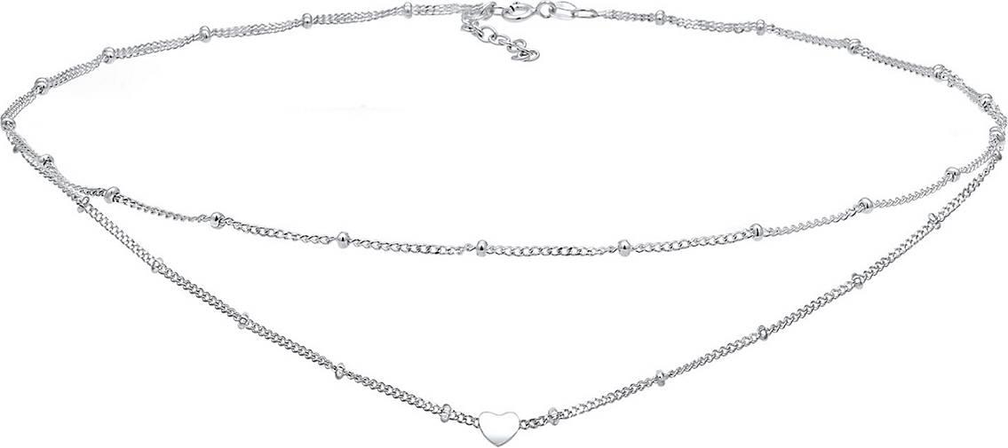 Elli Halskette Choker Layer Look Kugelkette Herz Trend 925 Silber