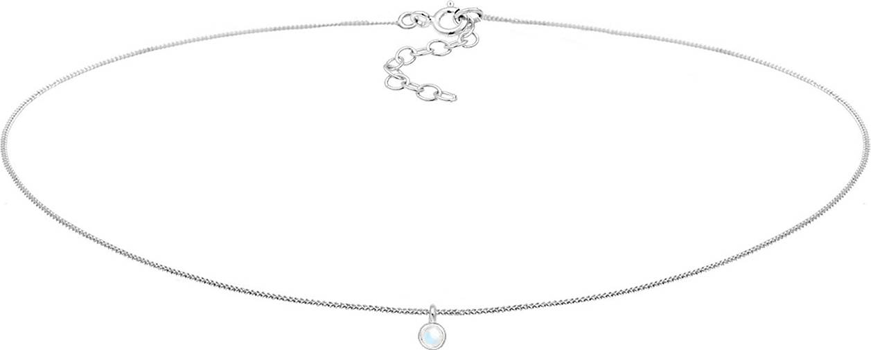 Elli Halskette Choker Mondstein Anhänger Basic Trend 925 Silber