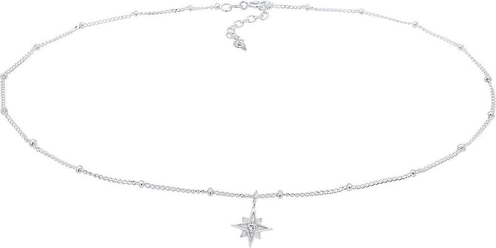 Elli Halskette Choker Stern Astro Kristalle 925 Silber