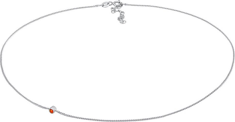 Elli Halskette Choker Synthetischer Opal Anhänger Trend 925 Silber