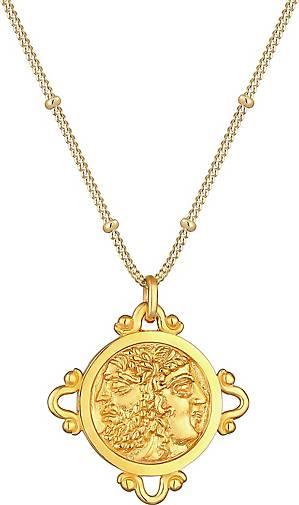 Elli Halskette Coin Münze Vintage Antik Look 925 Silber vergoldet