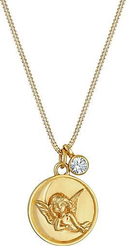 Elli Halskette Engel Plättchen Kristall 925 Silber