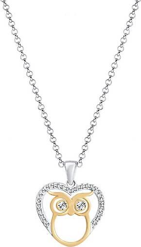 Elli Halskette Eule Herz Bi-Color Kristalle Silber