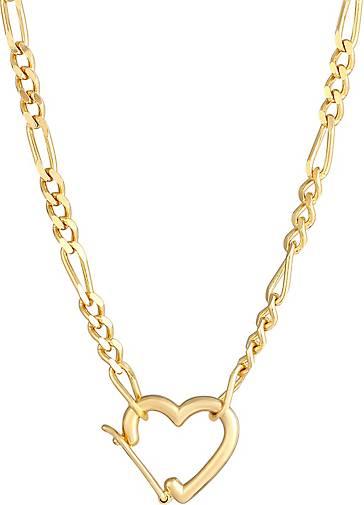 Elli Halskette Figaro Herz Verschluss Verstellbar 925 Silber