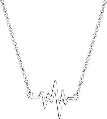 Elli Halskette Geo Herzschlag Love 925 Sterling Silber