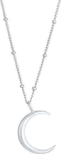 Elli Halskette Halbmond Moon Sichel Astro Kugelkette 925 Silber
