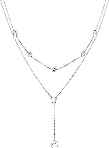 Elli Halskette Halbmond Stern Kristalle Silber