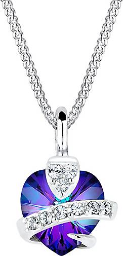 Elli Halskette Herz Glamourös  Kristalle 925 Silber