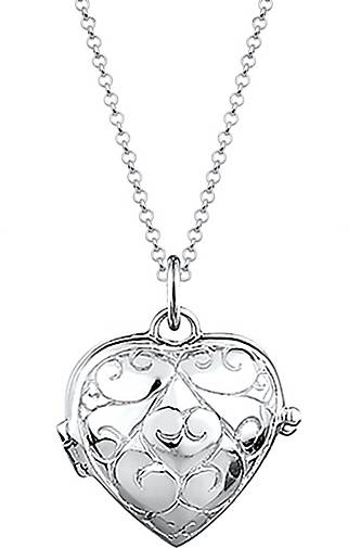 Elli Halskette Herz-Medaillon Amulett Ornament 925 Silber