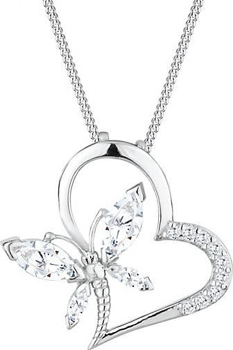 Elli Halskette Herz Schmetterling Zirkonia 925 Silber Noble