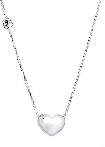 Elli Halskette Herz Solitär Kristalle 925 Silber