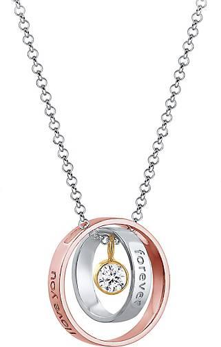 Elli Halskette I Love You Forever Wording Bi-Color 925er Silber