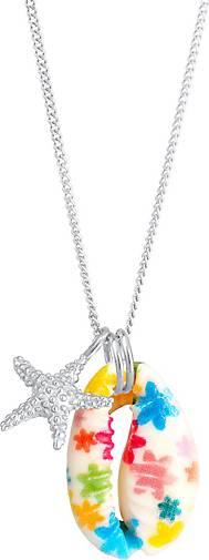Elli Halskette Kinder Kauri-Muschel Seestern Bunt Rosa 925 Silber