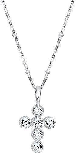 Elli Halskette Kreuz Kugelkette Kristalle 925 Silber
