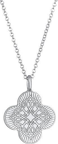 Elli Halskette Kreuz Ornament Coin Vintage 925 Silber