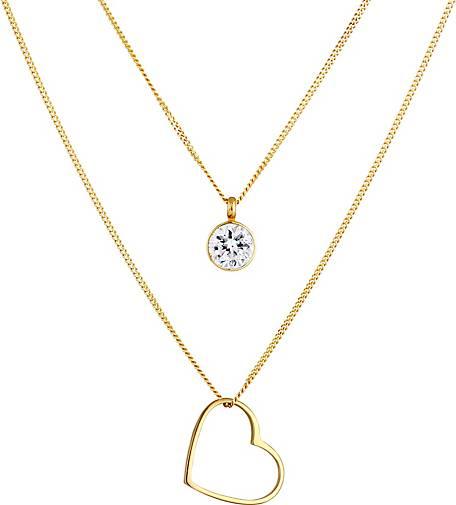 Elli Halskette Layer Herz Solitär Swarovski® Kristalle 925 Silber