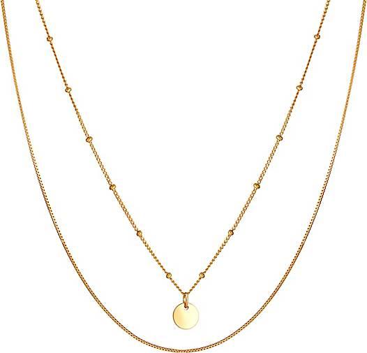 Elli Halskette Layer Kugelkette Kreis Plättchen 925 Silber