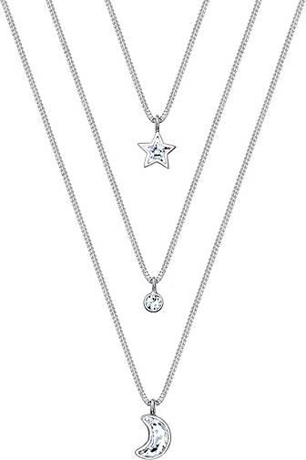 Elli Halskette Layer Mond Stern Kristalle 925 Silber
